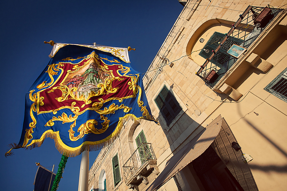 photoblog image A flag outside a church in St Julian - Malta
