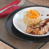 Orange risotto with grilled chicken