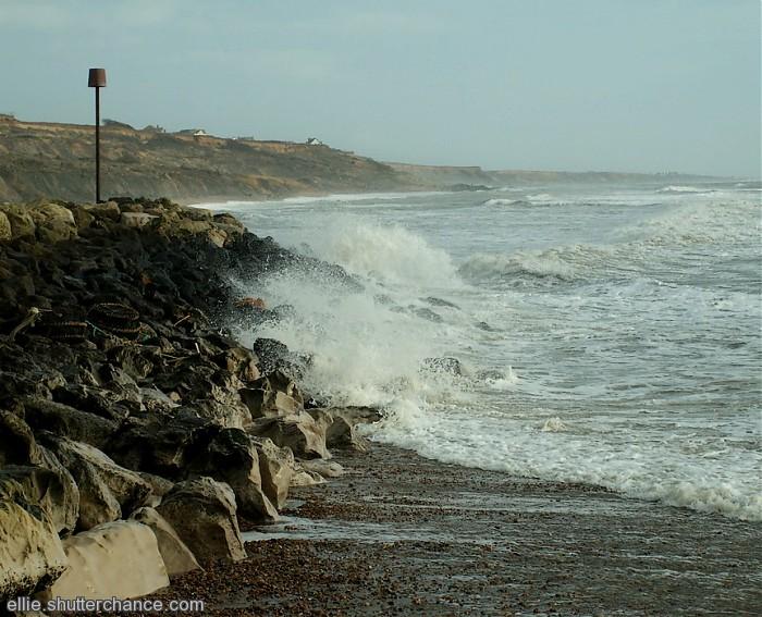 photoblog image Rough seas and breakwater