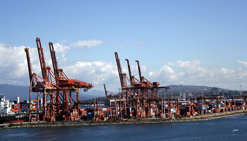 photoblog image Vancouver Pier... Cranes and Containers