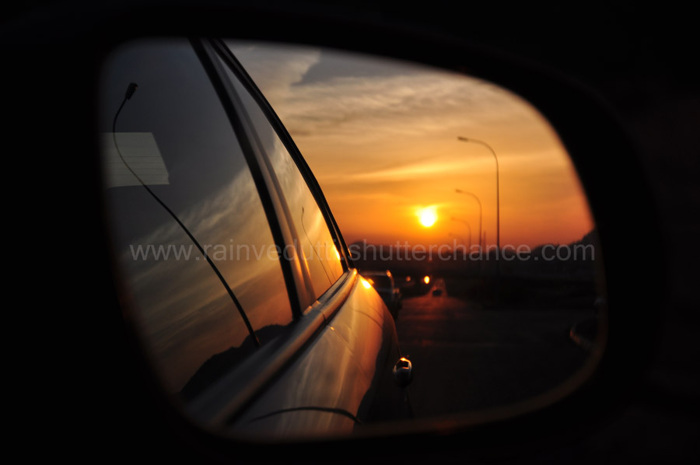 photoblog image sunset in the rearview mirror.jpg