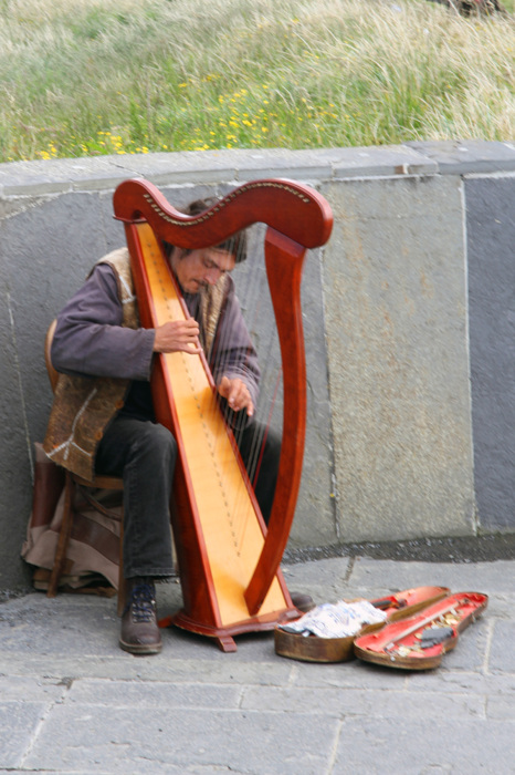 photoblog image Busker at the Cliffs of Moher