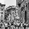 Florence, statues, tourists