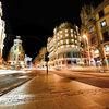 Gran Via at night in Madrid, Spain