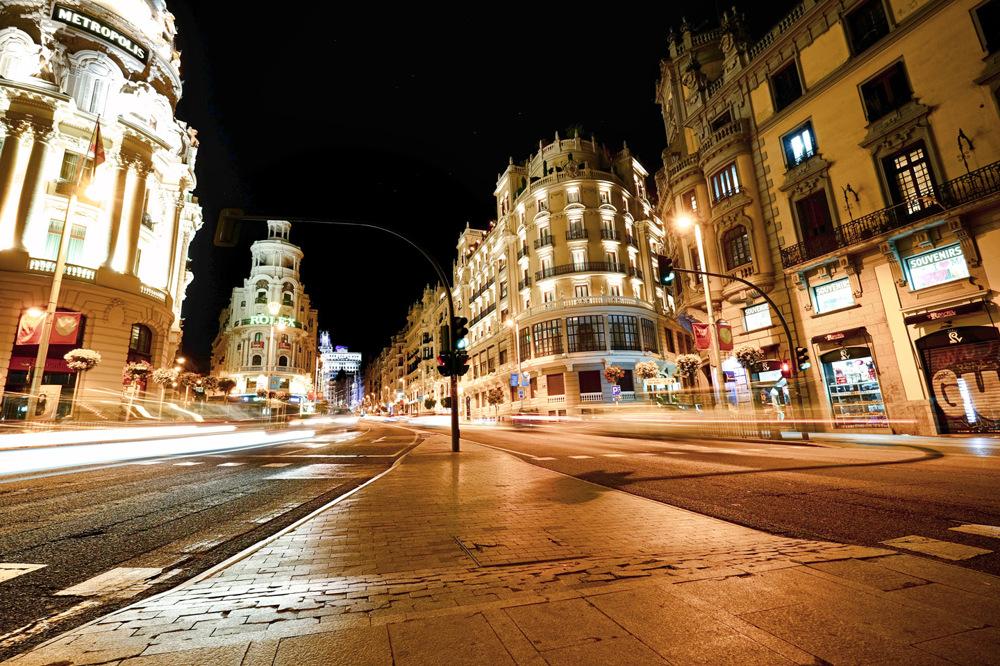 photoblog image Gran Via at night in Madrid, Spain