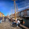 Along the harbor in Nyhavn in Copenhagen, Denmark