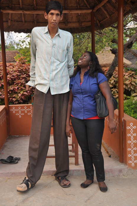 photoblog image tallest man in India and me